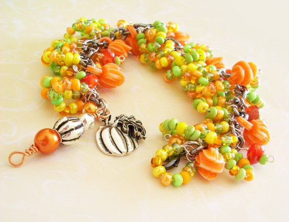 Charm Bracelet Orange and Yellow Pretty Petals beaded with pumpkin charm and tulips lots of Fall Colors!