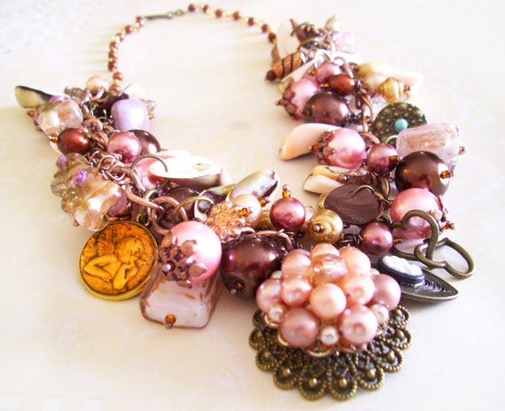 Statement NECKLACE with BRACELET with re-purposed Vintage focal Pink and Copper Beads and Various Charms