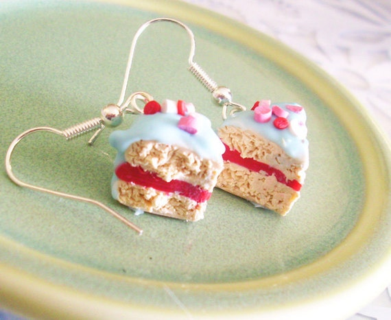 Cherry Vanilla Cake Slices with Light Blue Frosting and Sprinkles Polymer Clay Earrings