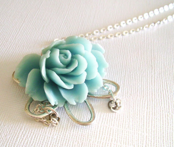 Blue Lotus Pendant Necklace with Pale Blue Flower and Long Chain