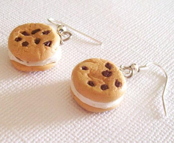 Cookie Ice Cream Sandwich Polymer Clay Earrings, Ice Cream Cookies