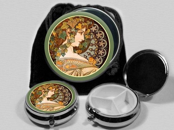 Woman Autumn  Art Nouveau Pocket Mirror and Pill Box Set  with Black Drawstring Pouch  No. 5221