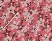 Vintage 1940s Rayon Dress Fabric -  Pink, Brown & White Floral Sewing Yardage