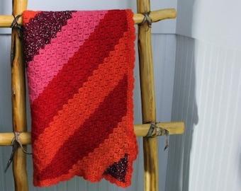 Vintage Baby Blanket Handmade Crochet  - Wool Red Pink Orange - B6