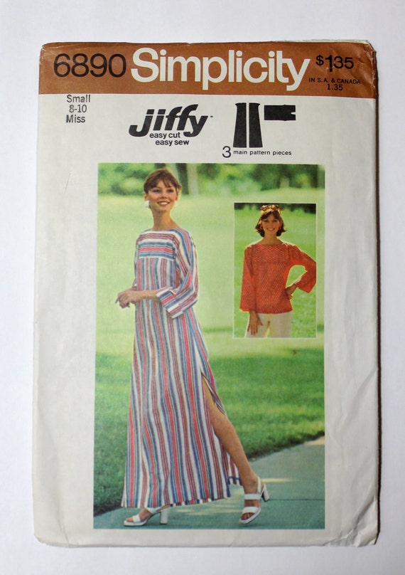 Vintage Sewing Pattern Simplicity 6890 Jiffy - Size 8-10 small Maxi Dress Caftan and Tunic