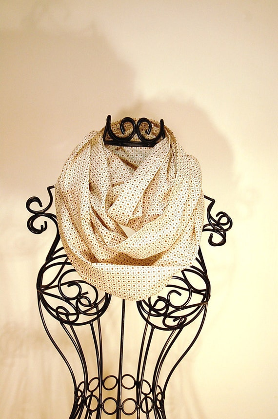 Cream and Brown Starburst and Dots Print Linen INFINITY SCARF-Scarf Cowl-Circle Loop Scarf-Eternity Scarf by The Accessories Nook