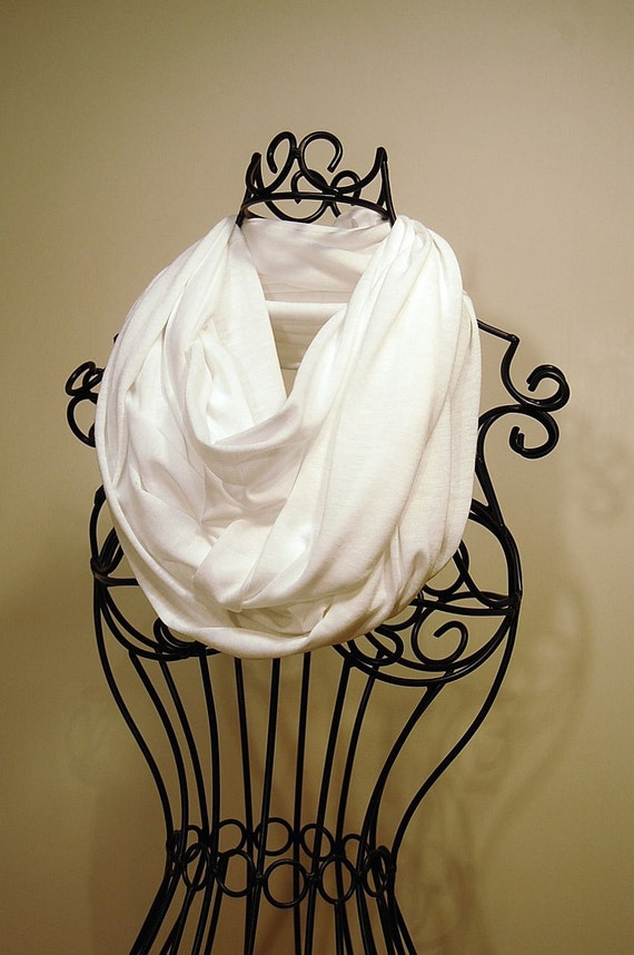 Summer White Unisex JERSEY INFINITY Scarf by T.A.N