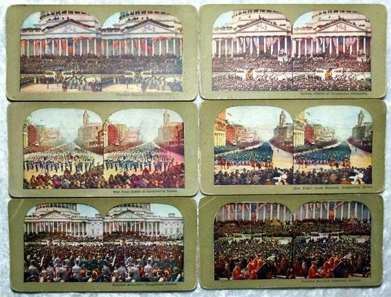 1904 President Roosevelt Inauguration 6 Stereoview Lot , Wash. DC, Antique Vintage