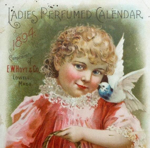 1894 Hoyts Ladies Perfumed Calendar Victorian Trade Card, Vintage Antique