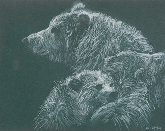 Mother Bear and Cubs 9x12 Fine Art Giclee Print