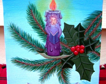 "Christmas Caroler Candle Ornament on a tree branch with holly with gradient Aqua blue background Painting on 6x6"" Canvas"