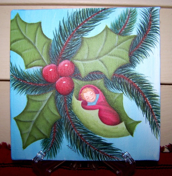 Infant swaddled and cradled in Christmas tree holly on a aqua blue gradient field 6x6 gallery wrapped canvas original painting