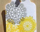 lemon sunny yellow and silver grey doily letterpress gift tags pack of 5