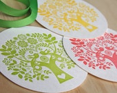 Spring Letterpress Coaster Scandinavian Folk Style Tree of Life green pink yellow set of 6 - fluidinkletterpress