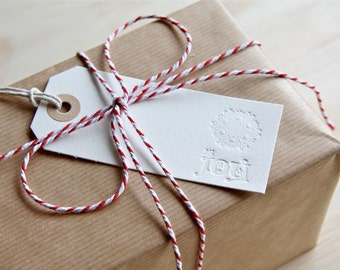 Doily Peace Joy Hope - Letterpress Christmas Gift tags x6