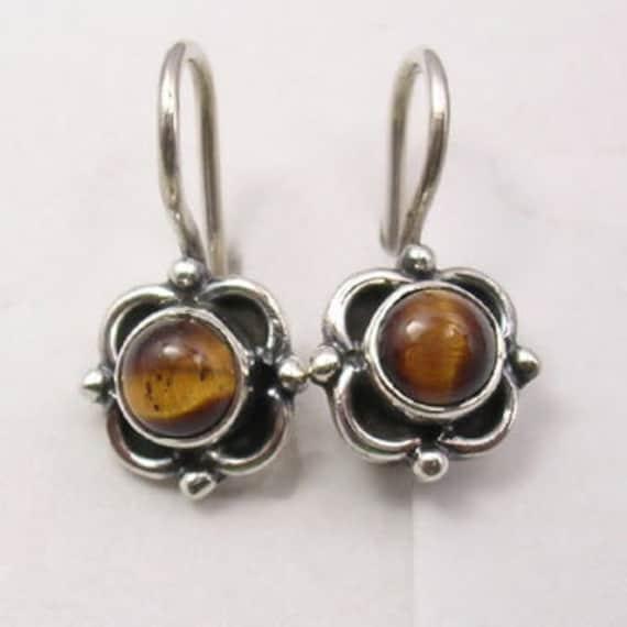 Tiger eye flower sterling earrings