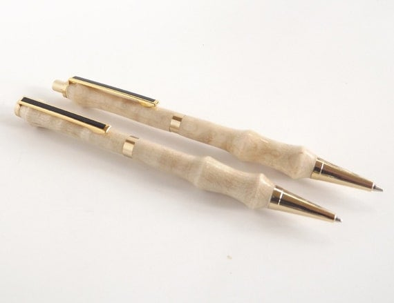 Curly Maple Wood Pen and Pencil Set with Gold Accents - Back to School Teacher Gift