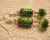 Origami pattern and etched glass in green earrings
