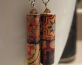 Splashy Painted Tiles Earrings with Crystal Beads