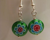 Murano glass flower design earrings