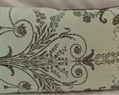 "Laura Ashley ""Josette duck egg/charcoal"" cushion with plain charcoal reverse fabric"