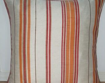 Springtime Stripe Cushion- Tangerine/Red