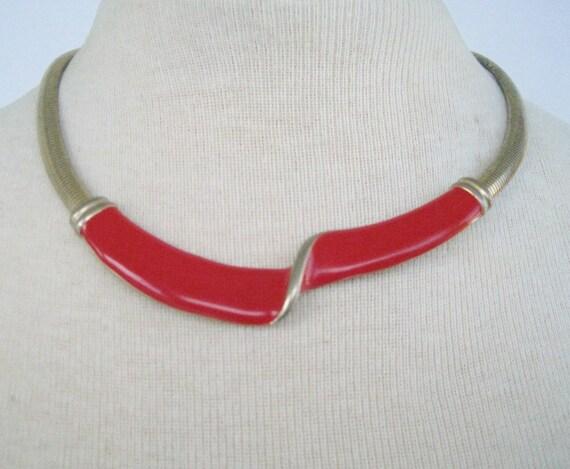 Vintage 80s Mod Minimalist Silvertone Red Enamel Twist Bib Necklace