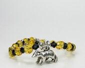 Harry Potter Hufflepuff Swarovski Crystal Sterling Silver Badger Charm Bracelet