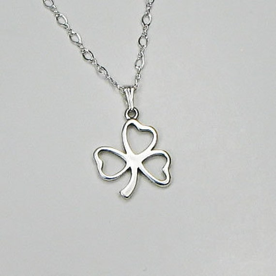 Sterling Silver Shamrock Necklace: Faith, Love, Hope