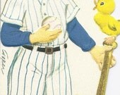 E65 Vintage Easter Greeting Card by Gibson  - Child's Die cut - Baseball play - by artist Marjorie Cooper
