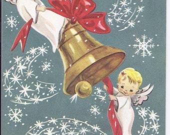 C123 Vintage Unused Christmas Greeting Card  by Crestwick - 2 angels