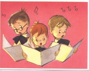 C124 Vintage Unused Christmas Greeting Card  by Crestwick - choir boys