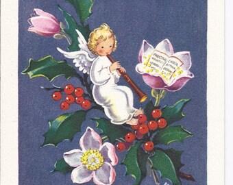 C189 Vintage Unused Christmas Greeting Card  by Fravessi Lamont Angel