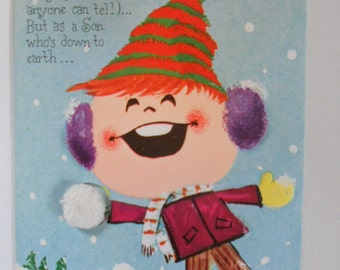 C218 Vintage Christmas Greeting Card - by Gibson - Boy & Snowball - Son