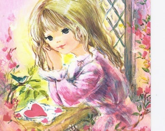 V29 Vintage Norcross Greeting Card girl by window hot pink