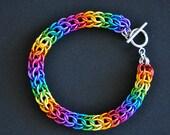 Gay Pride Bracelet, Chakra Bracelet, Rainbow Bracelet, Persian Chainmail