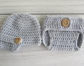 Newborn Crochet Diaper Cover and newsboy Hat set- Photo Prop-Choose Colors.