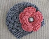 Crochet Baby Hat With a Flower-Photo Prop-Choose Colors-