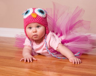 Crochet Baby Owl  Hat with Earflap for  Girl- Photo prop-