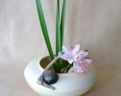 Ikebana Vase, White Porcelain, One Of A Kind, Heirloom Quality, Signed - perfect for displaying flowers and  greenery.