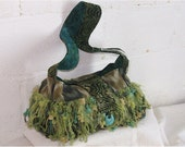 "Mary Frances-like pocketbook shoulderbag in greens, turquoise batiks, ikats.  15"" x 9"" x 4"" platform style"