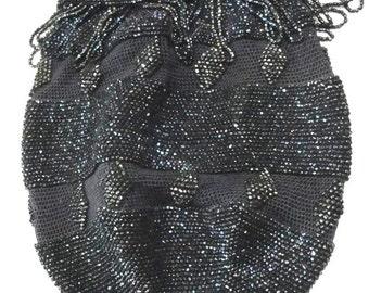 Pristine beaded drawstring bag