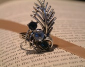 Silver and Blue Gem Ring- Cool as Ice - Made from Vintage Earring