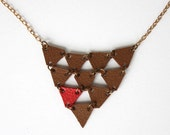 Brown and red little triangle, leather necklace