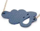 Navy blue little cloud, leather necklace