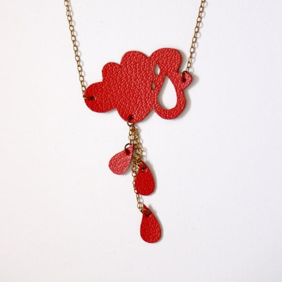 Red little cloud and raindrops, leather necklace