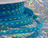 "Thin Ribbon Spool...Turquoise blue with Apple Green Stitching.... 1/8"" X 25 yards"