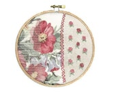 Shabby Chic Rosey Flowers Handstitched Hoop