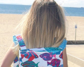 Backpack / Fish Print Toddler/Child Backpack / The Fish Swam in Schools