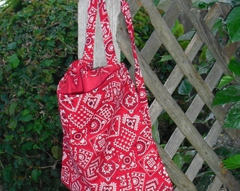 Red Western Bandana Print Backpack for Teen or Adult